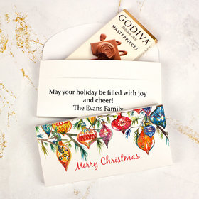 Deluxe Personalized Ornaments Christmas Godiva Chocolate Bar in Gift Box