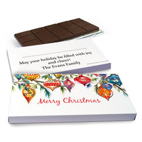 Deluxe Personalized Christmas Ornaments Chocolate Bar in Gift Box (3oz Bar)