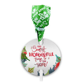 Personalized Wonderful Time Christmas Dum Dums with Gift Tag (75 pops)