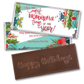 Personalized Embossed Chocolate Bar - Christmas Wonderful Time