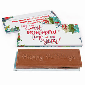 Deluxe Personalized Christmas Wonderful Time Chocolate Bar in Gift Box