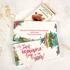 Deluxe Personalized Wonderful Time Christmas Godiva Chocolate Bar in Gift Box