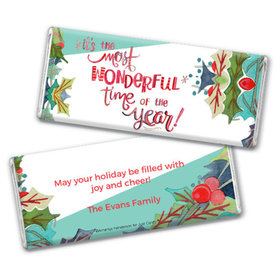 Personalized Chocolate Bar & Wrapper with Gold Foil - Christmas Wonderful Time