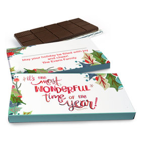 Deluxe Personalized Christmas Wonderful Time Chocolate Bar in Gift Box (3oz Bar)