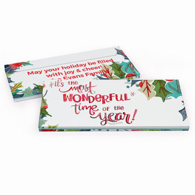 Deluxe Personalized Christmas Wonderful Time Candy Bar Favor Box
