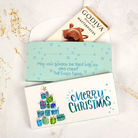Deluxe Personalized Presents Christmas Godiva Chocolate Bar in Gift Box