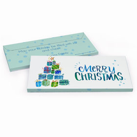Deluxe Personalized Christmas Tree Presents Candy Bar Favor Box