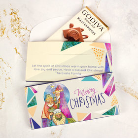 Deluxe Personalized Wise Men Christmas Godiva Chocolate Bar in Gift Box