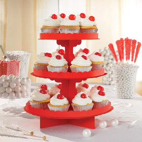 Red 3 Tier Cupcake Stand
