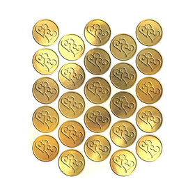 Metallic Gold Heart Seals (25 Count)
