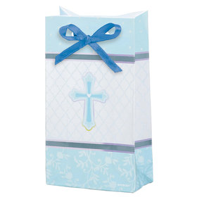 Sweet Christening Blue Favor Bags- 12 Pack