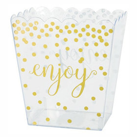 Medium Plastic 50oz Scalloped Container with Gold Polka Dots