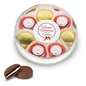 Personalized Happy Holidays Large Tin in Silver or Gold