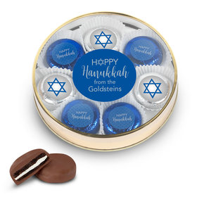 Personalized Happy Hanukkah Large Tin in Silver or Gold