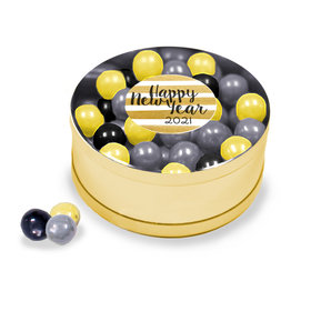 New Year's Eve Gold Stripes Assorted Sixlets Gold Small Plastic Tin