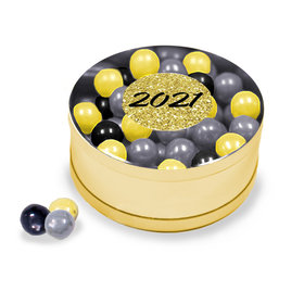 New Year's Eve Gold Glitter Assorted Sixlets Silver Small Plastic Tin
