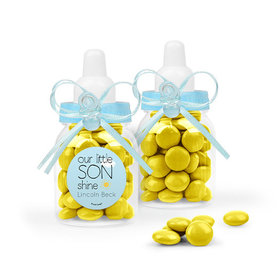 Personalized Boy Birth Announcement Favor Assembled Light Blue Baby Bottle Filled with Just Candy Milk Chocolate Minis