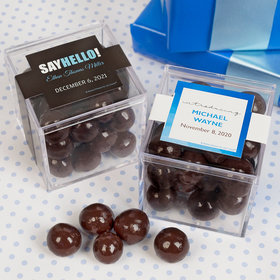 Personalized Boy Birth Announcement JUST CANDY® favor cube with Premium Barrel Aged Bourbon Cordials - Dark Chocolate