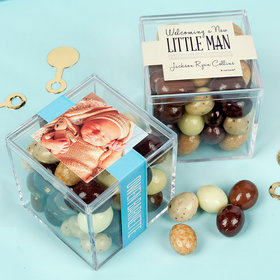 Personalized Boy Birth Announcement JUST CANDY® favor cube with Premium New York Espresso Beans