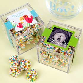 Personalized Boy Birth Announcement JUST CANDY® favor cube with Rainbow Berries