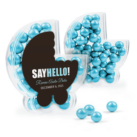 Personalized Boy Birth Announcement Favor Assembled Plastic Baby Stroller Box Filled with Sixlets