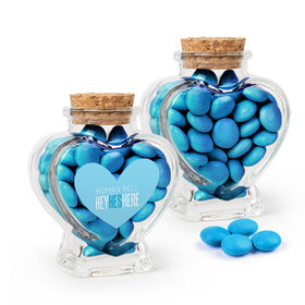 Personalized Boy Birth Announcement Favor Assembled Heart Jar Filled with Just Candy Milk Chocolate Minis