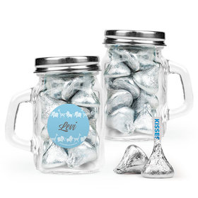 Personalized Boy Birth Announcement Favor Assembled Mini Mason Mug Filled with Hershey's Kisses