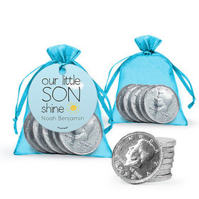 Personalized Boy Birth Announcement Favor Assembled Gift tag, Organza Bag Filled with Milk Chocolate Coins