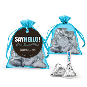 Personalized Boy Birth Announcement Favor Assembled Organza Bag Filled with Hershey's Kisses