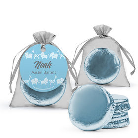 Personalized Boy Birth Announcement Favor Assembled Organza Bag Hang tag Filled with Chocolate Covered Oreo Cookie