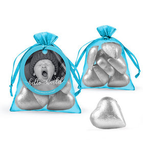 Personalized Boy Birth Announcement Favor Assembled Organza Bag Filled with Milk Chocolate Hearts