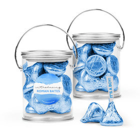 Personalized Boy Birth Announcement Favor Assembled Paint Can Filled with Hershey's Kisses