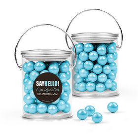Personalized Boy Birth Announcement Favor Assembled Paint Can Filled with Sixlets