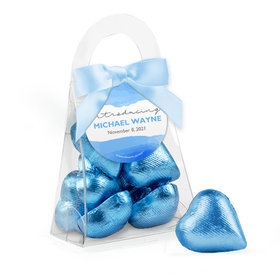 Personalized Boy Birth Announcement Favor Assembled Purse Filled with Milk Chocolate Hearts