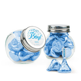 Personalized Boy Birth Announcement Favor Assembled Mini Side Jar Filled with Hershey's Kisses