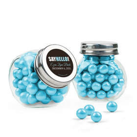 Personalized Boy Birth Announcement Favor Assembled Mini Side Jar Filled with Sixlets