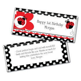 Birthday Lady Bug Personalized Chocolate Bar & Wrapper
