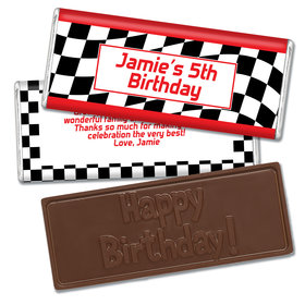 Birthday Racing Themed Embossed Happy Birthday Bar