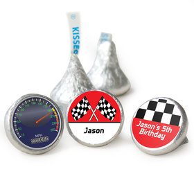 Birthday Racing Themed Personalized Assembled Kisses (50 Pack)