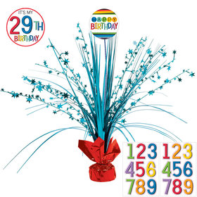 Rainbow Happy Birthday Add-Any-Age Spray Centerpiece (Each)
