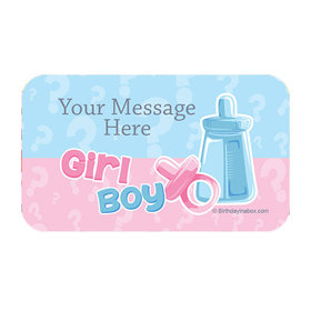 Gender Reveal Personalized Rectangular Stickers (18 Stickers)