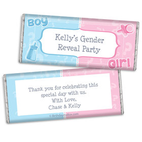 Pick a Side Gender Reveal Personalized Chocolate Bar & Wrapper