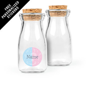 Gender Reveal Personalized Glass Bottle with Cork (24 pack)