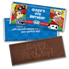Personalized Birthday Paw Command Embossed Chocolate Bars