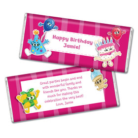 Birthday Partykin Themed Personalized Chocolate Bar & Wrapper