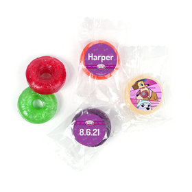 Personalized Birthday Paw Command Pink LifeSavers 5 Flavor Hard Candy