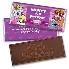 Personalized Birthday Paw Command Pink Embossed Chocolate Bars