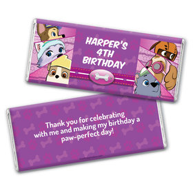 Personalized Birthday Paw Command Pink Chocolate Bars