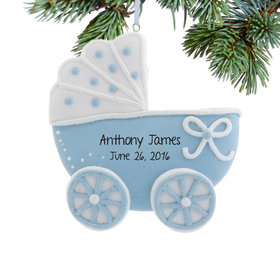 Personalized Blue Baby Carriage