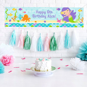 Personalized Birthday Mermaid Friends 5 Ft. Banner